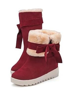Hócsizma - Alacsony - Női cipő - Csizmák - Alkalmi - Bőrutánzat - Fekete / Piros / Szürke