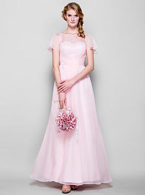 Lanting Bride® עד הריצפה שיפון שמלה לשושבינה - מעטפת \ עמוד סירה פלאס סייז (מידה גדולה) / פטיט עם סרט
