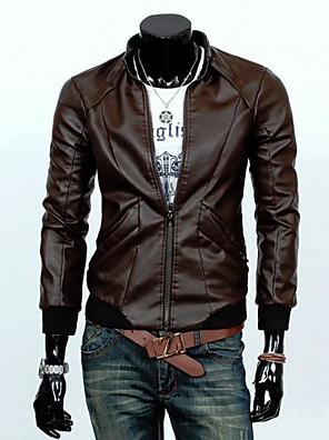 jaqueta de couro fino dos homens