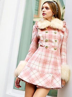 Pink Doll® Women's Fashion Plaid Pattern Slim Woolen Coat