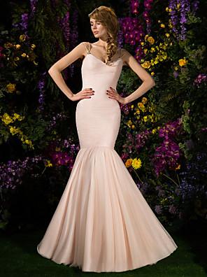 Lanting Bride® שובל סוויפ \ בראש טול שמלה לשושבינה - צמוד ומתרחב רצועות ספגטי פלאס סייז (מידה גדולה) / פטיט עםבד בהצלבה / סלסולים / סיכה