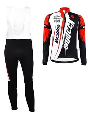 KOOPLUS® חולצת ג'רסי וטייץ ביב לרכיבה לנשים / לגברים / יוניסקס שרוול ארוך אופניים נושם / רוכסן עמיד למים / לביש / רצועות מחזירי אור