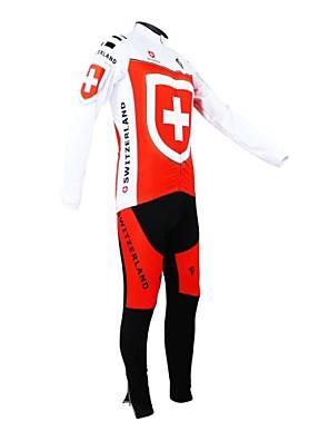 KOOPLUS® חולצת ג'רסי וטייץ ביב לרכיבה לנשים / לגברים / יוניסקס שרוול ארוך אופניים נושם / רוכסן עמיד למים / לביש / רצועות מחזירי אורמותאם