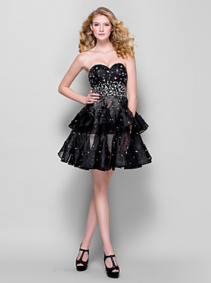 TS Couture® Cocktail Party / Company Party Dress Plus Size / Petite Ball Gown Sweetheart Short / Mini Organza with Beading / Crystal Detailing