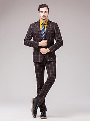 Obleky Slim Úzké otevřené Jednořadé s jedním knoflíkem 2 ks Kávová Rovné s klopou