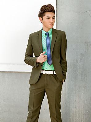 sólido escuro smoking slim fit verde em poliéster