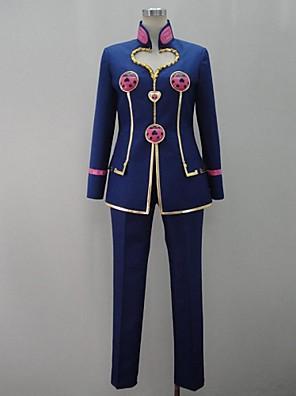 קיבל השראה מ הרפתקאות ביזאריות של ז'וז'ו קוספליי אנימה תחפושות Cosplay חליפות קוספליי טלאים כחול שרוולים ארוכים מעיל / מכנסיים