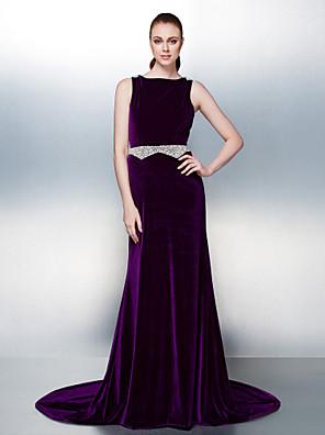 ts couture® Kleid plus Größe / zierlich a-line Zug Samt bateau Gericht mit Perlen / Perle Detaillierung / Schärpe / Band