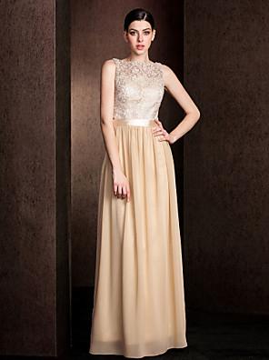 Lanting Bride® Longo Renda / Georgette Vestido de Madrinha - Mini Eu Tubinho Canoa Tamanhos Grandes / Mignon com Renda / Faixa / Fita