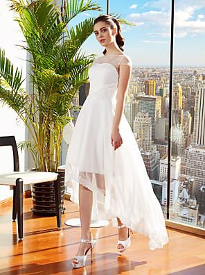 Lanting Bride® A-line Petite / Plus Sizes Wedding Dress Asymmetrical Bateau Chiffon with