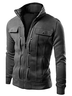 Men's Casual/Sports Thick Jacket, White Black Gray Brown
