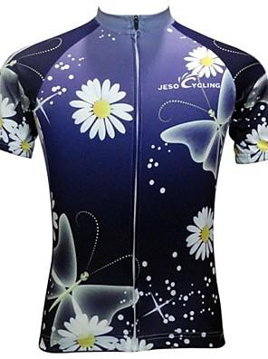JESOCYCLING® חולצת ג'רסי לרכיבה לנשים שרוול קצר אופניים נושם / ייבוש מהיר / נגד החלקה ג'רזי / צמרות פוליאסטר משובץ אביב / קיץרכיבה על