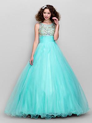 ts couture® השמלה גודל פלוס / סקופ א-קו קטן טול באורך הרצפה עם חרוזים / ruching