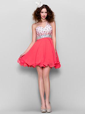ts couture® kjole - vakker tilbake plus size / tynn a-linje en skulder kort / mini chiffon med beading