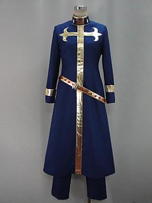 קיבל השראה מ הרפתקאות ביזאריות של ז'וז'ו קוספליי אנימה תחפושות קוספליי חליפות קוספליי טלאים כחול שרוולים ארוכים גלימה / מכנסיים / חגורה