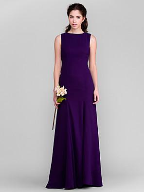 Lanting Bride® Cauda Escova Georgette Vestido de Madrinha - Tubinho Decorado com Bijuteria Tamanhos Grandes / Mignon com