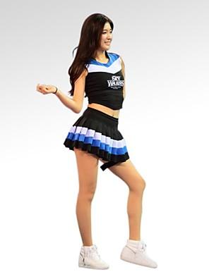 Fantasias para Cheerleader Roupa Mulheres Treino / Actuação Algodão / Poliéster Sem Mangas Natural 70CM