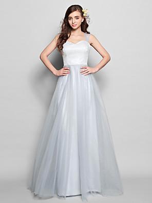 Lanting Bride® Na zem Krajka / Tyl Šaty pro družičky - A-Linie Popruhy Větší velikosti / Malé s Krajka