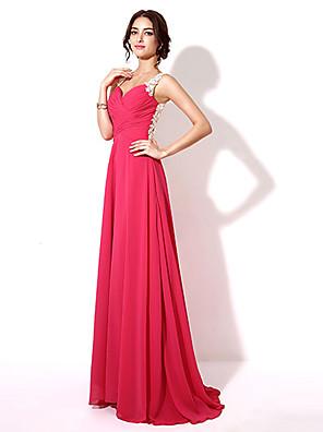 Serata formale Vestito - Retro dell'abito decorato Linea-A A cuore Lungo Chiffon con Ricamo