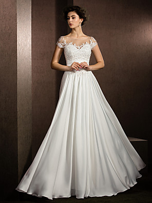 Lanting Bride® A-Linie Drobná / Nadměrné velikosti Svatební šaty Na zem Klenot Saténový šifon s Aplikace / Korálky