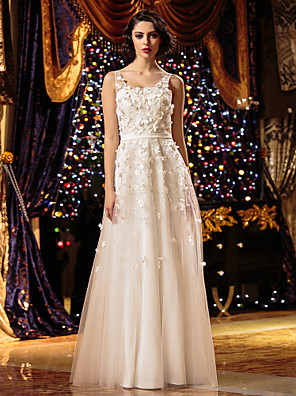 Lanting Bride® גזרת A קטן / מידה גדולה שמלת כלה - שיק ומודרני עד הריצפה מחשוף עמוק טול עם רקום / פרח