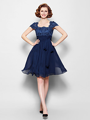 A-line Plus Size / Petite Mother of the Bride Dress Knee-length Short Sleeve Chiffon / Lace withAppliques / Bow(s) / Sash / Ribbon /