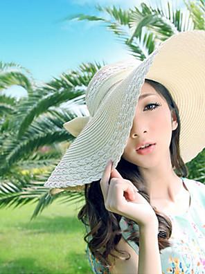 נשים יומיומי קיץ פוליאסטר/כותנה כובע קש