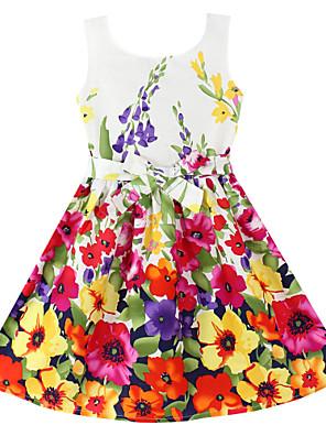 שמלה פרחוני כותנה אורגנית קיץ / אביב אדום הילדה של