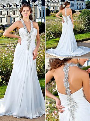 Lanting Bride Sheath/Column Petite / Plus Sizes Wedding Dress-Court Train V-neck Chiffon
