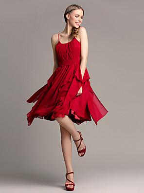 Lanting Bride® Ke kolenům Šifón Šaty pro družičky - A-Linie Špagetová ramínka Větší velikosti / Malé s Kaskádové řasení