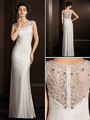 Lanting невесты оболочка / колонки миниатюрная / плюс размеры свадебное платье длиной до пола жемчужина стрейч атласа