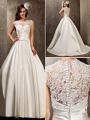 Lanting Bride® גזרת A / נסיכה קטן / מידה גדולה שמלת כלה - אלגנטי ויוקרתי / זוהר ודרמטיות שובל סוויפ \ בראש המלכה אן תחרה / סאטן עם