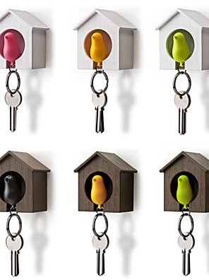 madár fészkel veréb ház kulcstartó gyűrűs lánc műanyag síp fali kampó tartók (véletlenszerű szín) 7 * 5 * 8 cm