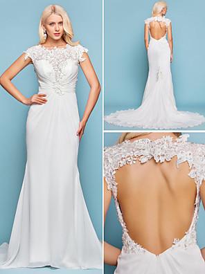 Lanting Bride® בתולת ים \ חצוצרה מידה גדולה / קטן שמלת כלה - שיק ומודרני / אלגנטי ויוקרתי בהשפעת וינטאג' / פתוח בגב שובל קורט עם תכשיטים