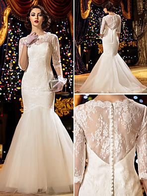 Lanting Bride® Mořská panna Drobná / Nadměrné velikosti Svatební šaty Průsvitné Dlouhá vlečka Kopeček Krajka s