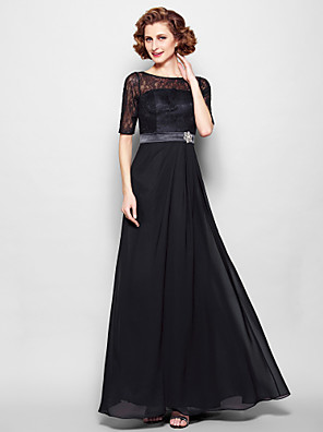 A-line Plus Size / Petite Mother of the Bride Dress Floor-length Half Sleeve Chiffon / Lace with Lace / Sash / Ribbon / Crystal Brooch