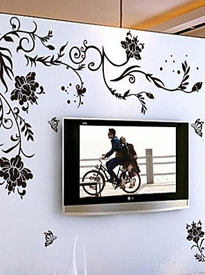 miljømæssige aftagelig sort rattan pvc væg sticker