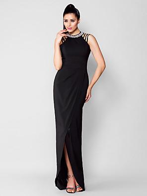 TS Couture® Formal Evening / Black Tie Gala Dress Plus Size / Petite Sheath / Column Jewel Asymmetrical Chiffon with Beading / Crystal Detailing
