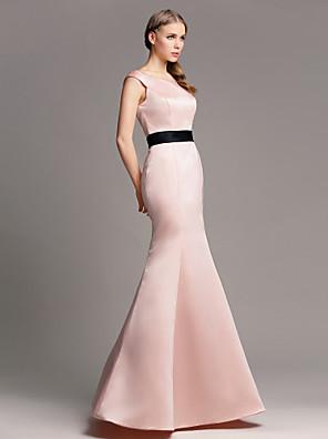 Lanting Bride® Na zem Satén Šaty pro družičky Mořská panna Spadlý Větší velikosti / Malé s Šerpa / Stuha