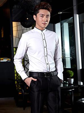 חולצה - מנדרינית - Yksivärinen - שרוולים ארוכים ( לבן , כותנה/פוליאסטר )