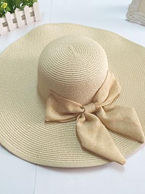 широкими полями лук соломы флоппи шляпу женщин