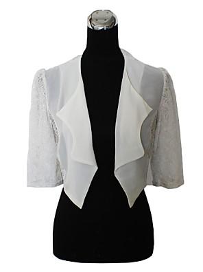 fourrure enveloppe manteaux / vestes du soir / boléros 3/4 longueur manches en mousseline de soie / dentelle noire / ivoire Boléro haussement