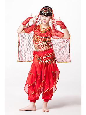 תלבושות בגדי ריקוד ילדים ביצועים שיפון / נצנצים חרוזים / מטבעות / נצנצים 5 חלקים בלי שרוולים טבעיPants length: M:64cm, L: 72cm Belt