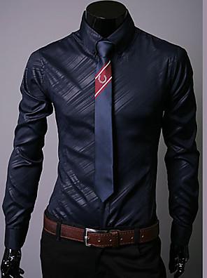 Jednoduché Dlouhý rukáv - Košile ( Černá/Bílá/Námořnická , Bavlna )