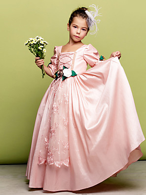 Lanting Bride A-line / Princess Floor-length Flower Girl Dress Square with Flower(s) / Lace