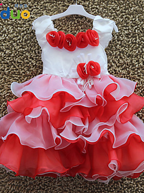 Kids Girls 3D Rose Applique Sweet Princess Layered Ruffles Ball Gown Pageant Cake Dress