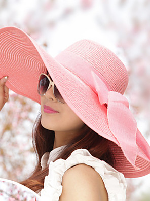 נשים וינטאג'/יומיומי קיץ קש כובע שוליים רחבים פלופי