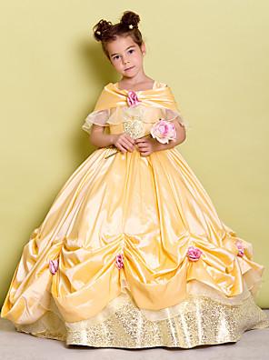 Lanting Bride Ball Gown Floor-length Flower Girl Dress - Taffeta Off-the-shoulder with Bow(s) / Flower(s)