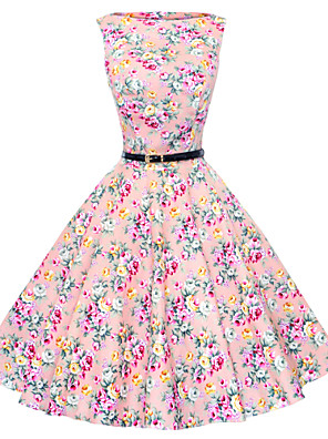 Maggie Tang Women's 50s Vintage Floral Rockabilly Hepburn Pinup Cos Party Swing Dress 533