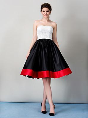 TS couture® 칵테일 파티 / 기업 파티 레이스와 라인 끈이없는 무릎 길이 레이스 드레스
